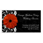 Orange Gerbera Daisy with Black and White Scroll Business Card Template