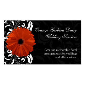 Orange Gerbera Daisy with Black and White Scroll Double-Sided Standard Business Cards (Pack Of 100)