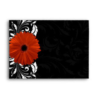 Orange Gerbera Daisy with Black and White Scroll Envelope