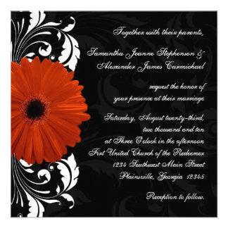 Orange Gerbera Daisy with Black and White Scroll Custom Announcement