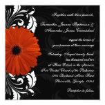 Orange Gerbera Daisy with Black and White Scroll 5.25x5.25 Square Paper Invitation Card