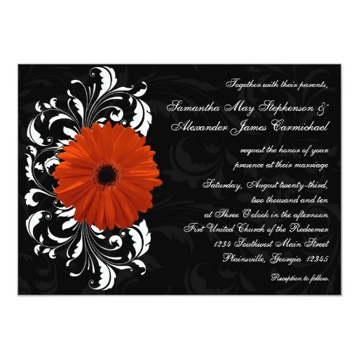Orange Gerbera Daisy with Black and White Scroll 5x7 Paper Invitation Card