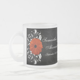 Orange Gerbera Daisy with Black and White Scroll 10 Oz Frosted Glass Coffee Mug