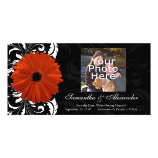 Orange Gerbera Daisy with Black and White Scroll Photo Card