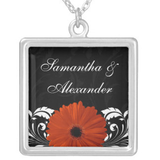Orange Gerbera Daisy with Black and White Scroll Silver Plated Necklace