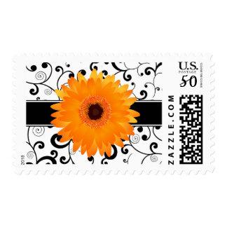 Orange Gerbera Daisy with Black Scroll Design Postage