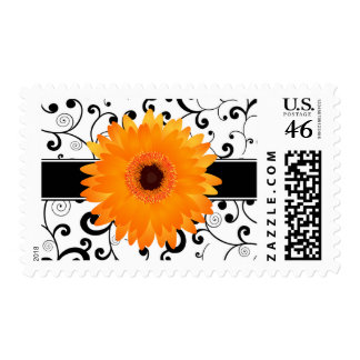 Orange Gerbera Daisy with Black Scroll Design Postage Stamps