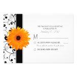Orange Gerbera Daisy with Black Scroll Design RSVP Personalized Invitations