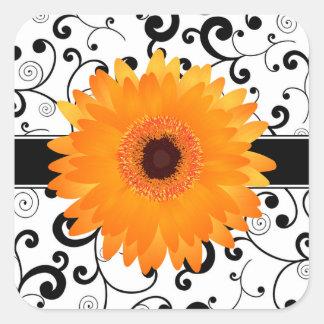 Orange Gerbera Daisy with Black Scroll Design Seal Square Sticker