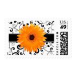 Orange Gerbera Daisy with Black Scroll Design Stamp