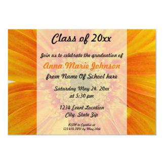 Orange Gerbera Floral Graduation Invitation