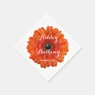 Orange Gerbera Gerber Daisy Personalized Wedding Paper Napkin