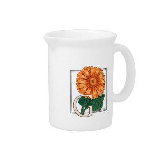 Orange Gerberas Floral Monogram Drink Pitcher