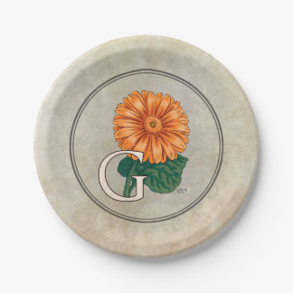Orange Gerberas Floral Monogram 7 Inch Paper Plate
