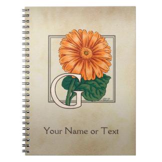 Orange Gerberas Personalized Floral Monogram Spiral Note Book