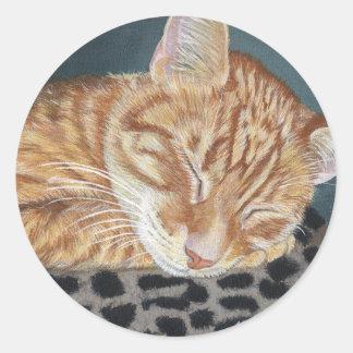 Orange Ginger Tabby Sleeping Cat Painting Art Classic Round Sticker