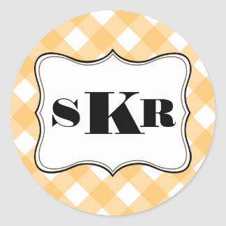 Orange gingham 3 monogram letter country style classic round sticker