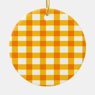 Orange Gingham Ceramic Ornament