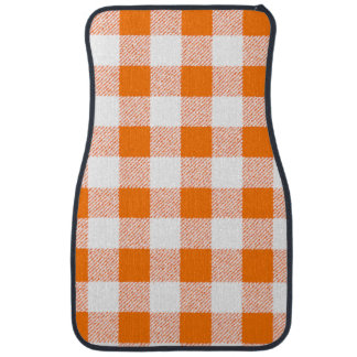 orange gingham check car floor mat