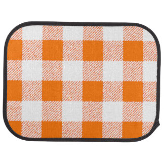orange gingham check car mat