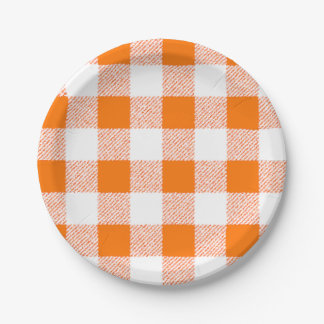 orange gingham check paper plate