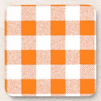 Orange Gingham Check Pattern Drink Coaster