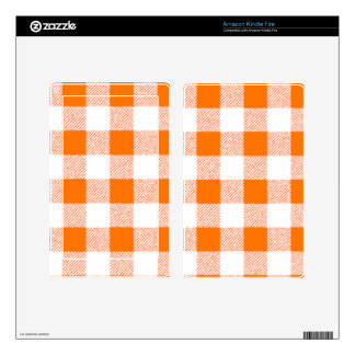 Orange Gingham Check Pattern Kindle Fire Decal