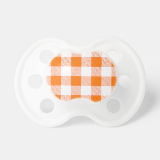 Orange Gingham Check Pattern Pacifier