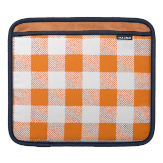Orange Gingham Check Pattern Sleeve For iPads