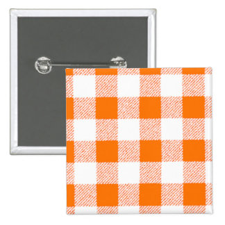 orange gingham check pinback button