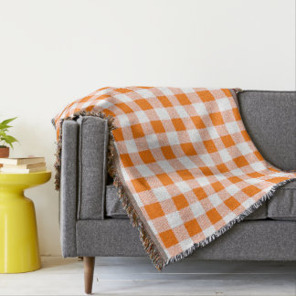 orange gingham check throw