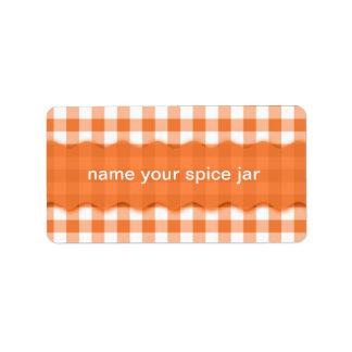 Orange Gingham Checkered Design Kitchen Label