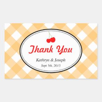 Orange gingham country picnic red cherry wedding rectangular sticker