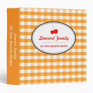 Orange gingham country red cherry family recipe binder