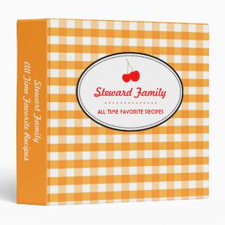 Orange gingham country red cherry family recipe binder