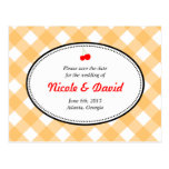Orange gingham country rustic cherry save the date postcard