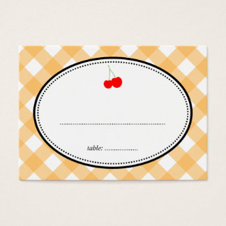 Orange gingham country rustic cherry seating card