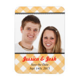 Orange gingham country wedding save the date vinyl magnets