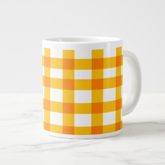 Orange Gingham Large Coffee Mug