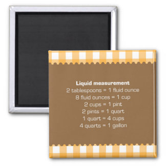 Orange gingham liquid measure chart kitchen helper 2 inch square magnet