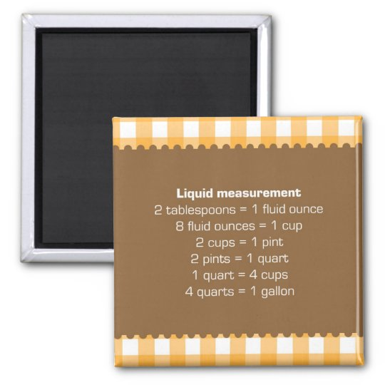 Orange gingham liquid measure chart kitchen helper magnet