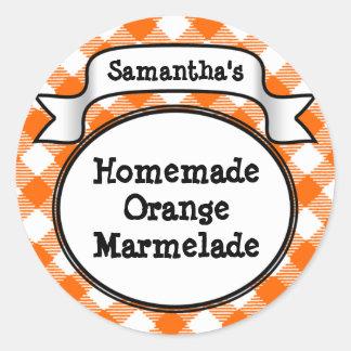 Orange Gingham Marmelade, Jelly, Jam Jar/Lid Label