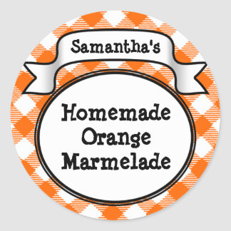 Orange Gingham Marmelade, Jelly, Jam Jar/Lid Label Classic Round Sticker