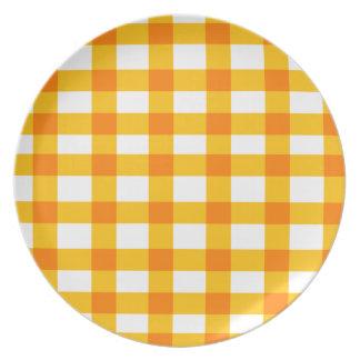 Orange Gingham Melamine Plate