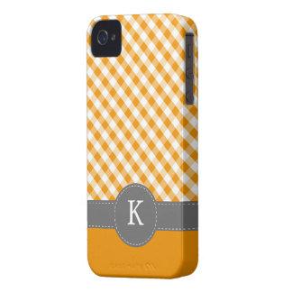 Orange Gingham Pattern Custom Monogram iPhone 4 Covers