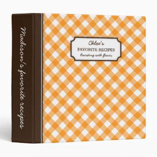 Orange gingham pattern personalized recipe book 3 ring binder