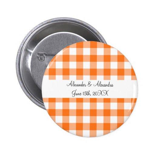 Orange gingham pattern wedding favors 2 inch round button