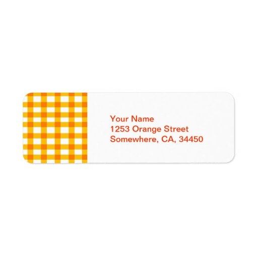 Orange Gingham Return Address Label