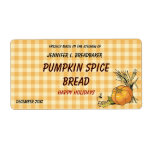 Orange Gingham with Pumpkin and Wheat Food Label