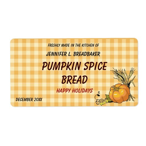 Orange Gingham with Pumpkin and Wheat Food Labels